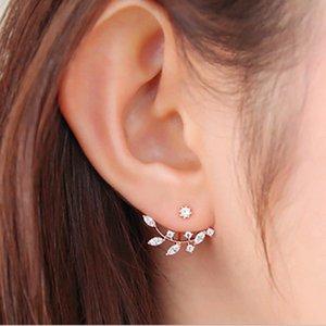 YUTONG Korean Zircon elegant gold leaf leaves asymmetric crystal earrings for women Piercing Jewelry