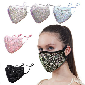 DHL Fashion Dustproof Mask Bling Bling Diamond Protective Masks PM2.5 Mouth Washable Reusable Women Colorful Rhinestones Face Mask FWF5008