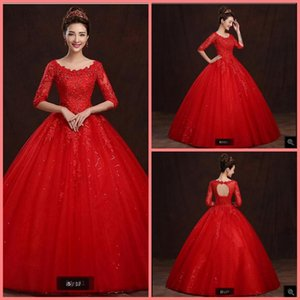 2021 Amazing red lace tulle ball gown wedding dress half sleeve beaded lace appliques princess wedding gowns hollow back sexy bride dress