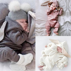 Toddler Baby Rompers Newborn Infant Rabbit Ears Bunny Hat Jumpsuit Romper Spring Breathable Knitted Zip One Piece Pants Clothing HH23ENAV