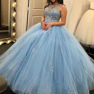 2021 Sky Blue Quinceanera Prom Dresses Jewel Neck Lace Beading Appliques Formal Evening Party Gowns Occasion Dress