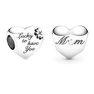 Série Day de la mère 925 Sterling Argent gravé chanceux de vous avoir maman cœur perles en forme d'original pandora bracelet bracelet bijoux