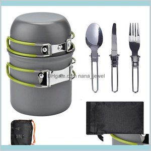 Outdoor Supplies Camping Cookware Set, Easy To Carry For 1-2 People, Picnic Stove Cooker Set With Color Box Jyqmj Jrcuo