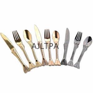 شوك 50 قطعة / الوحدة الرجعية خمر الغربية مطلية بالذهب المائدة الذيل السمك السكاكين الطعام ملعقة صغيرة ذهبية أواني الطعام CT0468