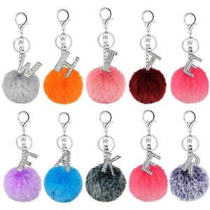 Pom Poms Keychain A -Z Initial Key Rings Faux Rabbit Fur Pompoms Keyring Crystal Alphabet Pendant Keychains for Girls