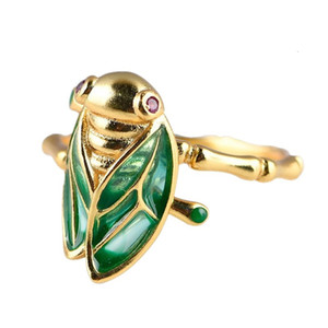 2021 New Real S925 Pure Sier Chinese Style Gold-plated Bamboo Open Woman Burnt Blue Cicada Ring 0343