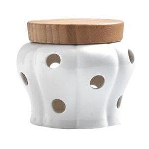 Storage Garlic Ginger Storage Tank Jar Bamboo Cover Kitchen Organizer Tools Home Decoration Accessories
