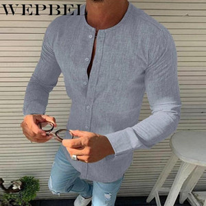 Men's Casual Shirts Mens Autumn Solid Color Cardigan Single Breasted Shirt Slim Long Sleeve O-Neck