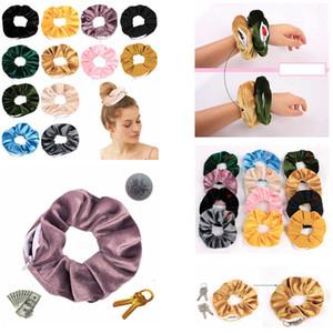 12styles Reißverschluss Large Darm Hairband Velet Streifen Taschenseil Ring Ring Elastische Haarbänder Sporttanz Pferdeschwanzhalter FFA3286-