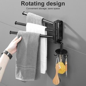 Towel Racks Bathroom Holder Bar Kitchen Paper Rack For Home Rotating Wall-Mounted Shower Room Accessories With Hooks 1pcs