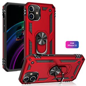 Car Holder Finger Ring Bracket Hard Case For Iphone 12 Mini 11 Pro Max X XS XR SE2 7 Plus 8 6 6S 5 5S Defender Armor Hybrid Shockproof Cover