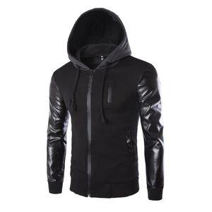 Зимняя куртка мужчины искусственная кожа лоскутное мужские куртки панк стиль осень мода пальто мужчины верхняя одежда с капюшоном мужская одежда горячая