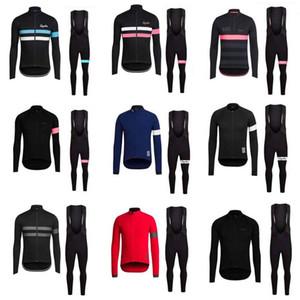 Men Rapha Cycling Jerseys Set Long Sleeves Bike Wear Comfortable Breathable New Racing Suit bib pants sets S21022724