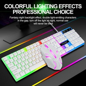 Rainbow Wired Keyboard and Mouse Combo Waterproof Clavier Gamer Keyboard Gaming RGB Teclado Gamer Mice Computer Keybord Backlit