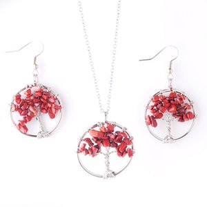 WOJIAER Reiki Jewelry Sets Tree of Life Natural Red River Jasper Gem Stone Drop Necklaces Pendant Earrings Healing DQ8000