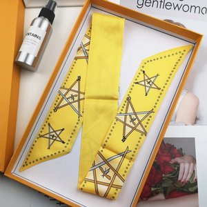 Holiday yellow star bag handle small silk ribbon hair band decorative women's scarf A0C1
