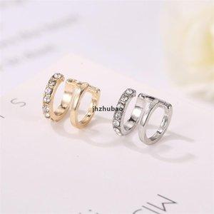 30pcs / lot coreano a forma di doppio strato a doppio strato polsino rame no foro diamante orecchio clip da donna moda oro orecchini gioielli accessori