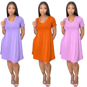2021 New Arrivals Women Clothes Summer Short Sleeve Solid Color Loose Pocket Mini Dresses Fashion Casual Female Clothing