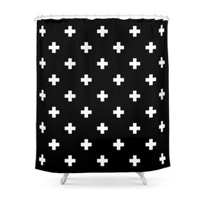 Shower Curtains Swiss Cross Pattern Curtain Frabic Waterproof Polyester Bathroom Wall Decoration Hanging Bath
