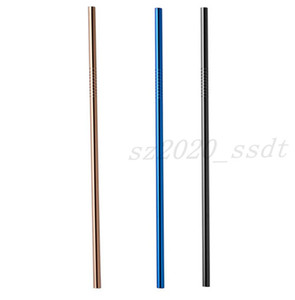 Hot selling 304 stainless steel straws titanium colored metal straws drink juice coffee milk tea straws Free Shipping