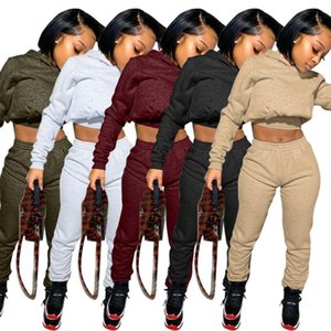 Womens Tracksuit Sweatpants Joggers Set Plain Logo 2 Piece Crop Top Sets Female Sweat Pants Set Fall Two Piece Jogger with Hoodie