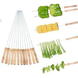 12PCS SET Kabob Skewers Wooden Handle & Stainless Steel BBQ Skewer Barbecue Grilling Kabobs Sticks Set Reusable BBQ Sticks OWE7528