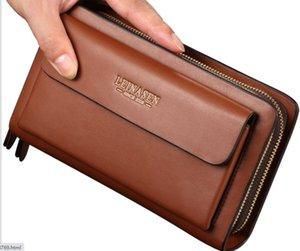 Men Clutch bags double zippers Long Length Business casual bags Multi-slots large volume purses Good pu bags durable