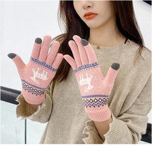 Donne ragazze inverno guanti touch screen guanti moda stile coreano cervo stampa lana a maglia calda morbida finge finge finge jlljmr