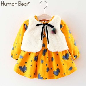 Humour Bear Girl Girl Winter Girls Princess Long-Manches Robe Robe Robes Vêtements Bébé Vêtements 210312