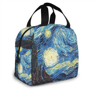 Van Gogh Starry Sky Маслом живописи Обед Сумка Bolsa Termica Свежие изоляционные Сумки Coler Tote Оксфорд Водонепроницаемый Досуг Искусство Сумки 210310