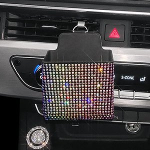 Car Organizer Crystal Storage Box Garbage Bag Auto Outlet Air Vent Hanging Mobile Phone Holder Accessories Women