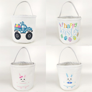 Mini Canvas Bag Kids Tote Pouch Easter Rabbit Bunny Egg Printed Basket 23*25cm White Small Multi Color Washable Party Decorate 9 8yp G2