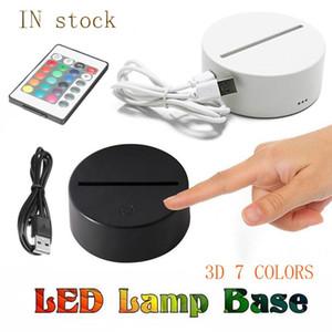 Melhor preço RGB Luzes LED 3D Base de Lâmpada de Interruptor de Toque para Lâmpada de Ilusão 3D 4MM Panel de Luz Acrílico 2A Bateria Novidade Iluminação Lâmpada De Mesa
