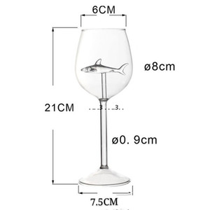 Fashion Standing Cups Shark Originality Transparent Elegance Long Stemmed Glasses Woman Man Drinking Tools Goblet FWD5128