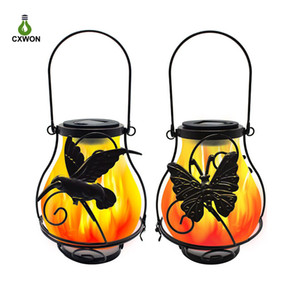Solar Lantern Porch Outdoor Waterproof Hanging Lamp Antique Solar Flame Light Pathway Auto On Off Flickering Flame Camping Garden Decor