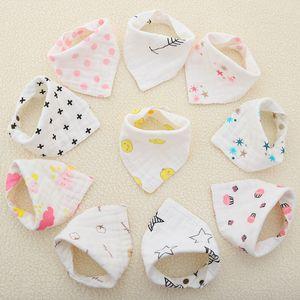 DHL 8 Layers Baby Newborn INS Print Bibs Infant Triangle Scarf Toddlers Muslin Cotton Bandana Burp Cloths 23 Colors