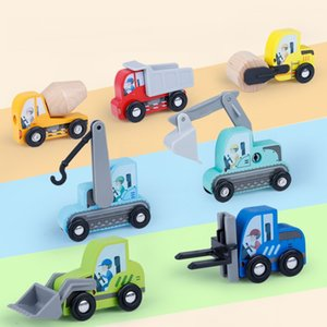 Construction Toy Cars 7 PCS Wooden Kids Mini Vehicles for Toddlers, Train Toys Railway, Best for 3 to 5 Year Old Boys and Girls