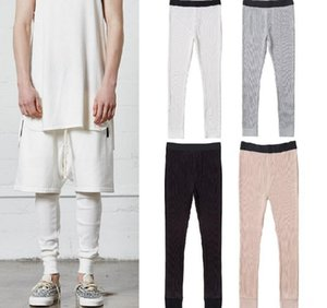 Leggings for Men Waffle Knit Essentials Cpmpression Pants 4 Colors FOG Skinny Joggers Free Shipping