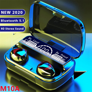 M10A TWS Headphones Wireless Bluetooth 5.0 Earphones HIFI Stereo Earbuds Waterproof Headsets 2000mAh Charging Box PK F9 M11