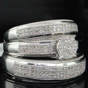 3 unids / set Rhinestones de lujo Anillos de cristal Conjunto para mujeres Accesorios de joyería Moda Mujeres Egagia de egociedad Declaración Regalo de niña