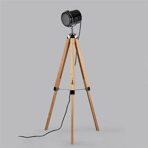 American Retro Vintage Loft Wooden Metal Tripod Led E27 Searchlight Floor Lamp For Photography Workshop Living Room Wood light