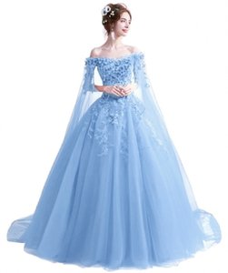 2021 New Princess Sky Blue Bateau Ball Gown Quinceanera Dresses Appliques Lace Up Sweet 16 Dress Debutante Prom Party Dress Custom Made 36