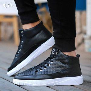Bjyl 2019 Neue Heiße Verkauf Mode Männliche Freizeitschuhe Herren Leder Lässige Turnschuhe Mode Schwarz Weiß Wohnungen Schuhe B308 13cj #