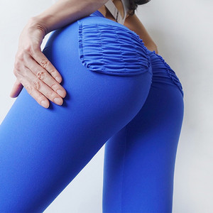 Women High Waist Sexy Scrunch Ruched Butt Lift Yoga Pants Workout Sport Leggings Tummy Control Gym Exercise Neon Bright Tight Tall Trousers
