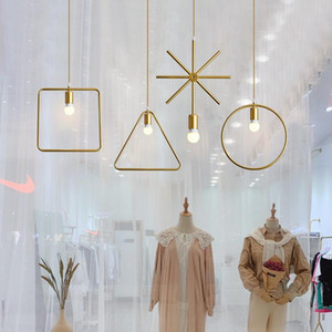 Modern window chandelier bedroom clothing store decoration bar creative personality golden women's clothing shop lamp chandelier