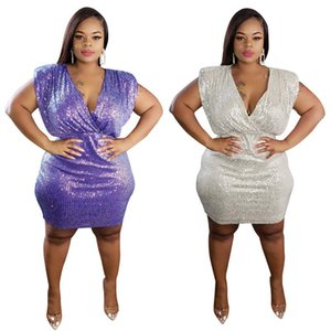 Womens Dresse Sequins Patchwork Purple Bodycon Mini Dress Woman V-neck Party Night Club Elegant Dresses Wholesale Plus Size Clothing