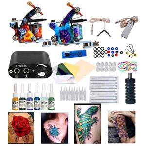 Tattoo Kit Body Art 2 Катушки Пушки Машины Установите 6 Цветов Пигмент Татуировки Чернила Иглы Поставки Питание Постоянные наборы макияжа