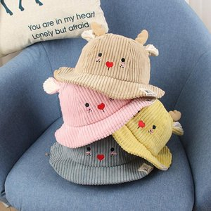 Autumn And Winter Corduroy Fisherman Hat Baby Embroidery Cartoon Shape Soft Breathable Bucket Hat Kids Casual Dome Caps 48cm