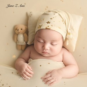 Jane Z Ann Starlight sleeping hat +pillow   bear set baby newborn photography props hot gold star not including backdrop 210315