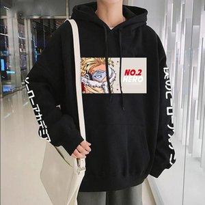 Sudaderas con capucha para hombres Harajuku Japón Anime My Hero Academia No.2 Hawks con capucha Unisex Cool Dibujos animados Impreso de invierno Streetwear